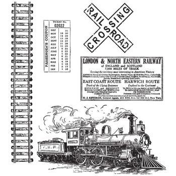 Tim Holtz Cling Rubber Stamp Set on the railroad