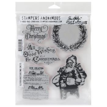Tim Holtz Cling Rubber Stamp Set old fashioned christmas