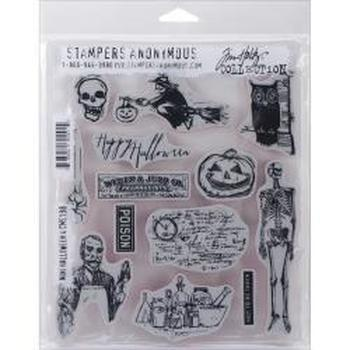 Tim Holtz Cling Rubber Stamp Set Halloween NIEUW