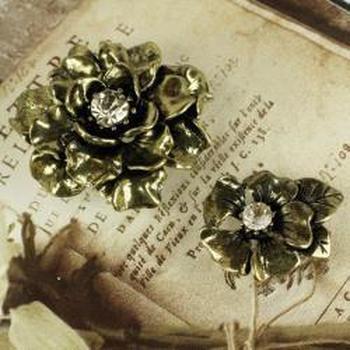 Rondelle Vintage Metal Pins 5/Pkg